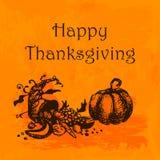 Ejemplo feliz del día de la acción de gracias Garabatee la calabaza y la cornucopia dibujadas mano, fondo anaranjado de la acuare Imagenes de archivo