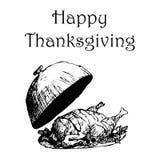 Ejemplo feliz del día de la acción de gracias Pavo dibujado mano del garabato, fondo blanco Tarjeta de felicitación, cartel, avia Foto de archivo libre de regalías