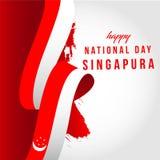 Ejemplo feliz del diseño de la plantilla del vector del día nacional de Singapur libre illustration