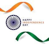Ejemplo feliz del dise?o de la plantilla del vector de la cinta del D?a de la Independencia de la India stock de ilustración