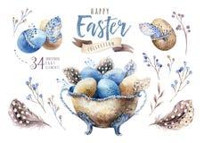 Ejemplo feliz del florero de pascua de la acuarela con las flores, las plumas y los huevos Decoración del día de fiesta de la pri libre illustration