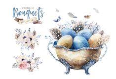 Ejemplo feliz del florero de pascua de la acuarela con las flores, las plumas y los huevos Decoración del día de fiesta de la pri Foto de archivo