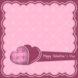 Ejemplo feliz del rosa del día de tarjetas del día de San Valentín con los corazones Imagen de archivo libre de regalías