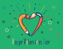 Ejemplo feliz del vector del día de tarjetas del día de San Valentín Lápiz y cepillo en forma del corazón Línea estilo plana Fotografía de archivo libre de regalías