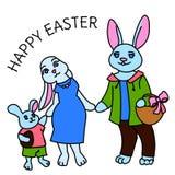 Ejemplo feliz del vector de la tarjeta del color de la familia del conejo de Pascua stock de ilustración