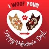 Ejemplo feliz del vector de la tarjeta de felicitación del día de tarjetas del día de San Valentín Foto de archivo