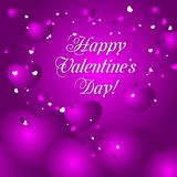 Ejemplo feliz del vector de la tarjeta de felicitación del día de tarjetas del día de San Valentín con los corazones púrpuras Fotos de archivo