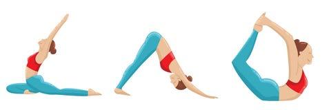 Ejemplo fijado actitudes del vector de la yoga Aislado en el fondo blanco con las sombras y los puntos culminantes stock de ilustración
