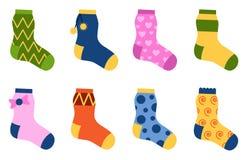 Ejemplo fijado calcetines coloridos planos del vector del diseño Imagen de archivo