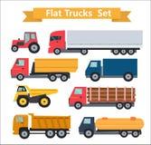 Ejemplo fijado camiones planos del vector Imagen de archivo