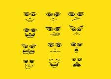 Ejemplo fijado caras del dibujo de la mano de la historieta Foto de archivo libre de regalías
