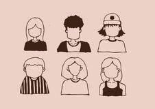 Ejemplo fijado caras del dibujo de la mano de la historieta Foto de archivo