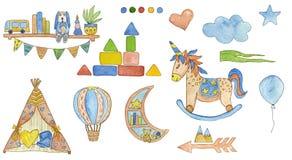 Ejemplo fijado con los elementos de la acuarela de los niños Mano drenada stock de ilustración