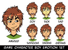 Ejemplo fijado emociones del vector del muchacho del carácter del juego Fotos de archivo