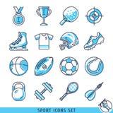Ejemplo fijado iconos del vector del deporte Ilustración del Vector
