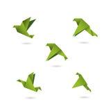 Ejemplo fijado iconos verdes del vector de los pájaros de la papiroflexia Imagen de archivo