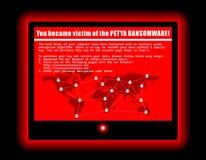 Ejemplo fresco de la pantalla cibernética del ataque del virus de ordenador de Ransomware stock de ilustración