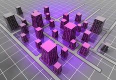 Concepto futurista de la estructura de la ciudad del scifi del espacio Fotografía de archivo libre de regalías