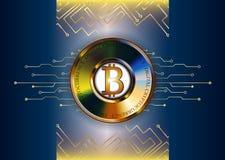 Ejemplo futurista del fondo del bitcoin Líneas y moneda oro Imagen de archivo libre de regalías