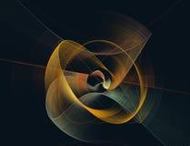 Ejemplo generado por ordenador del fractal de un amarillo esférico y azul Fotos de archivo libres de regalías