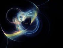 Ejemplo generado por ordenador del fractal de un amarillo esférico y azul Fotografía de archivo libre de regalías