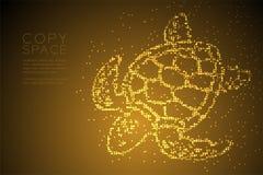 Ejemplo geométrico abstracto de la forma, acuático y de la vida marina de la tortuga de mar del modelo del pixel del punto del cí stock de ilustración