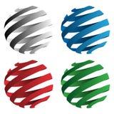 Ejemplo geométrico del vector de las formas de la esfera espiral de la cinta 3D aislado en negro, rojo, azul y verde ilustración del vector