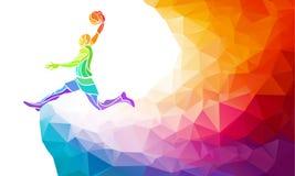 Ejemplo geométrico poligonal del estilo de un salto del tiroteo del puente del tiro en suspensión del jugador de básquet visto de stock de ilustración