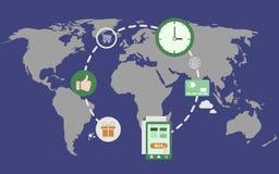 Ejemplo global del concepto del comercio electrónico Fotos de archivo libres de regalías