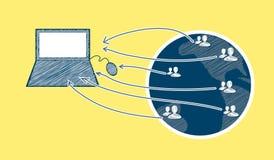 Ejemplo global del concepto del comercio electrónico Imágenes de archivo libres de regalías