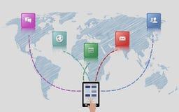 Ejemplo global del concepto del comercio electrónico Imagen de archivo libre de regalías