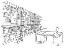 Ejemplo gráfico blanco negro interior del bosquejo del sitio de la biblioteca Imágenes de archivo libres de regalías