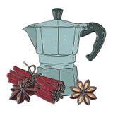 Ejemplo gráfico colorido del grunge hecho a mano del vector con el fabricante de café del géiser Diseño para los carteles, impres ilustración del vector