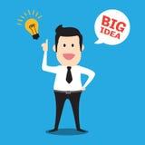 Ejemplo gráfico de la historieta del concepto del negocio de la idea grande del hombre de negocios Foto de archivo libre de regalías