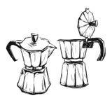 Ejemplo gráfico del extracto hecho a mano del vector con el fabricante de café del géiser aislado en el fondo blanco Diseño para  libre illustration