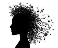 Ejemplo gráfico del fondo de la mujer de la silueta musical de la cara Imagen de archivo libre de regalías