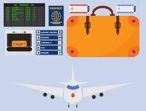 Ejemplo gráfico del símbolo del viaje de la mosca del transporte de aeropuerto del aeroplano de la línea aérea determinada del ve libre illustration