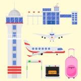 Ejemplo gráfico del símbolo del viaje de la mosca del transporte de aeropuerto del aeroplano de la línea aérea determinada del ve ilustración del vector