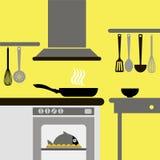 Ejemplo gráfico interior de la estufa de la casa del vector Imágenes de archivo libres de regalías