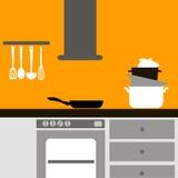 Ejemplo gráfico interior de la estufa de la casa del vector Imagen de archivo