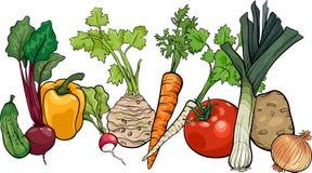 Ejemplo grande de la historieta del grupo de las verduras Foto de archivo libre de regalías