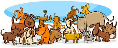 Ejemplo grande de la historieta del grupo de los caracteres de los perros ilustración del vector
