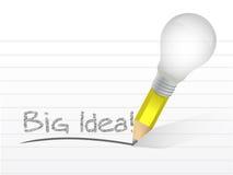 Ejemplo grande del concepto del lápiz de la bombilla de la idea Fotografía de archivo libre de regalías