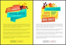 Ejemplo grande del vector de los carteles de la venta de la oferta especial stock de ilustración