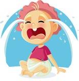 Ejemplo gritador de la historieta del vector del bebé divertido Imagen de archivo