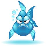 Ejemplo gruñón divertido del vector del personaje de dibujos animados de los pescados - 2 stock de ilustración