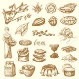 Ejemplo handdrawn del dulce de la producción del cacao del chocolate de la comida del garabato del bosquejo de los productos del  libre illustration