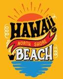 Ejemplo Hawaii, playa del norte del vector de la orilla Imagen de archivo libre de regalías