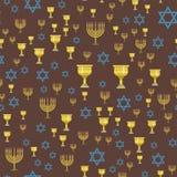 Ejemplo hebreo del vector del judío del modelo de la iglesia del judaísmo de Jánuca del passover religioso inconsútil tradicional