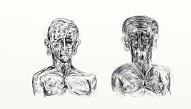 Ejemplo hecho con el nankin que exhibe el busto de dos hombres de lado a lado Imagenes de archivo